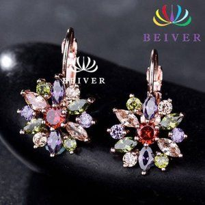 Luxury Rose Gold Color Flower Stud Earrings